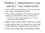 problem 1 administrative costs and fees very controversial