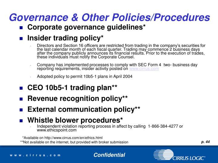 Governance & Other Policies/Procedures