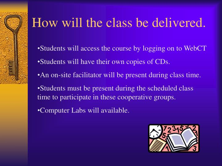 How will the class be delivered.