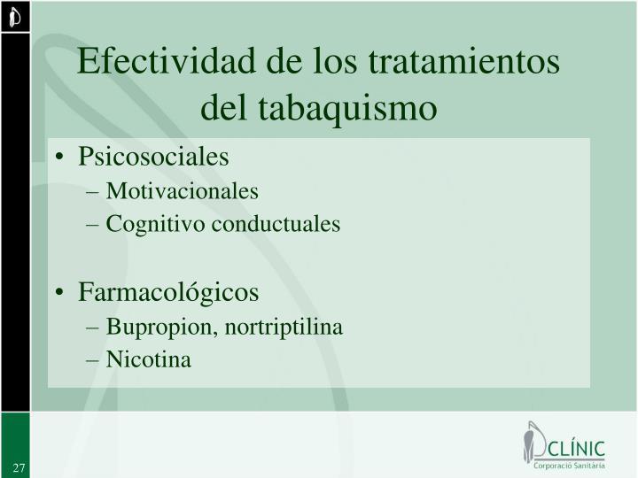 Efectividad de los tratamientos del tabaquismo
