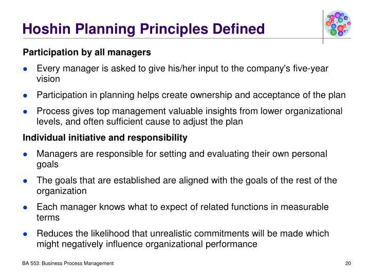 Hoshin Planning Principles Defined