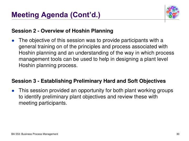 Meeting Agenda (Cont'd.)