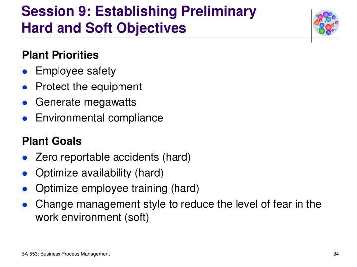 Session 9: Establishing Preliminary
