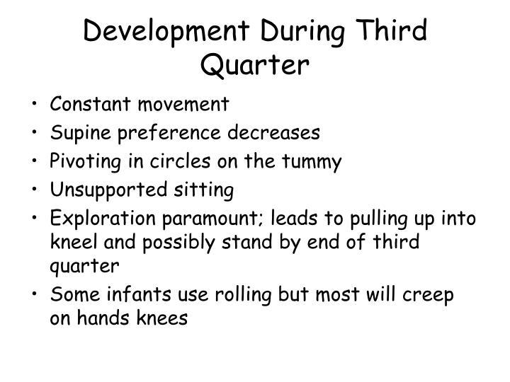Development During Third Quarter