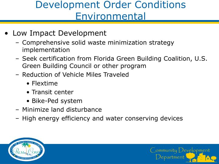 Development Order Conditions  Environmental