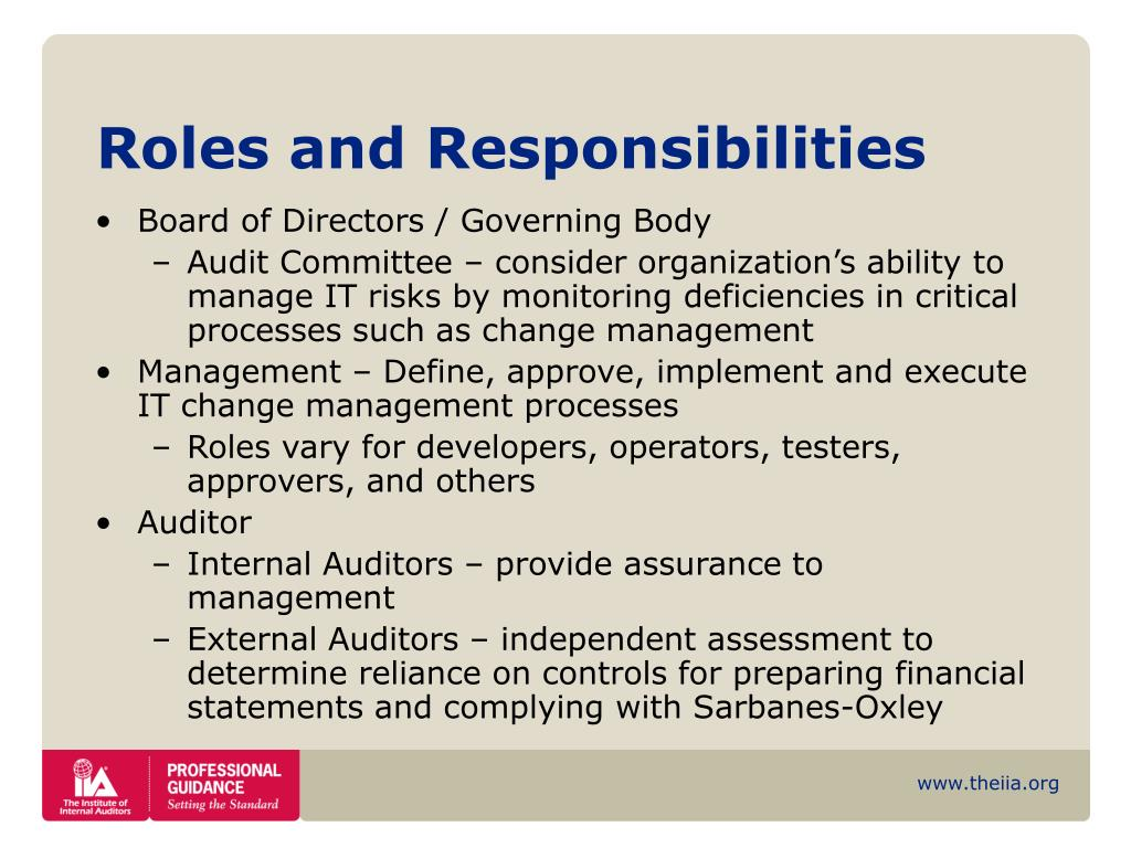 change management policy roles and responsibilities