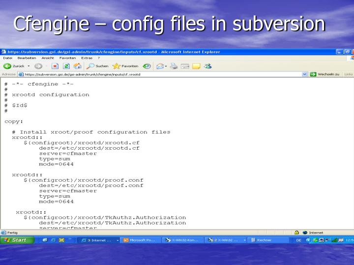 Cfengine – config files in subversion