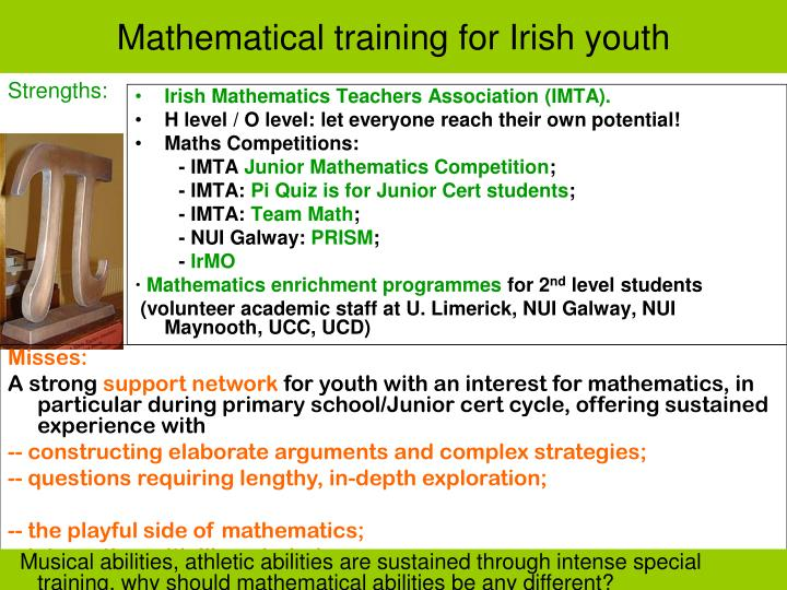 Mathematical training for Irish youth