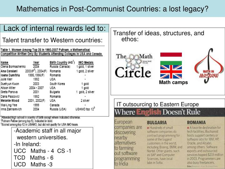 Mathematics in Post-Communist Countries: a lost legacy?