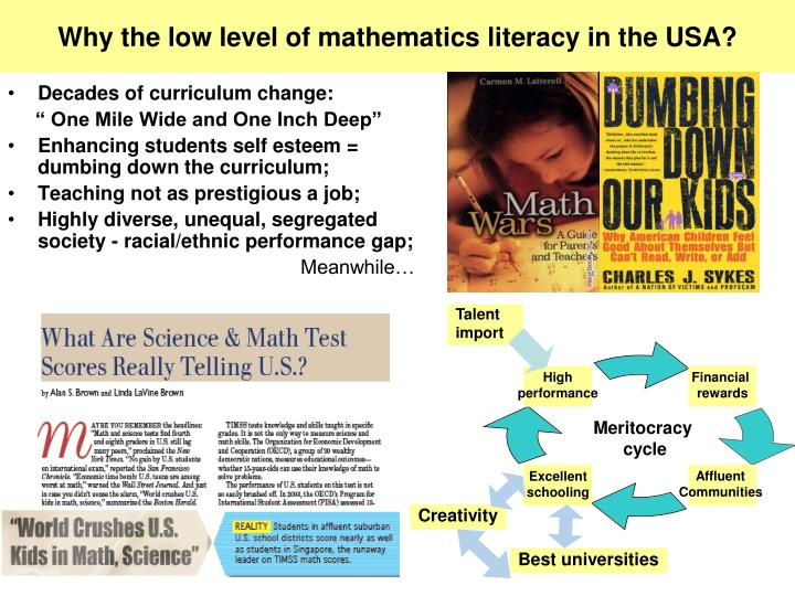 Why the low level of mathematics literacy in the USA?