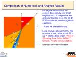comparison of numerical and analytic results
