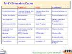 mhd simulation codes