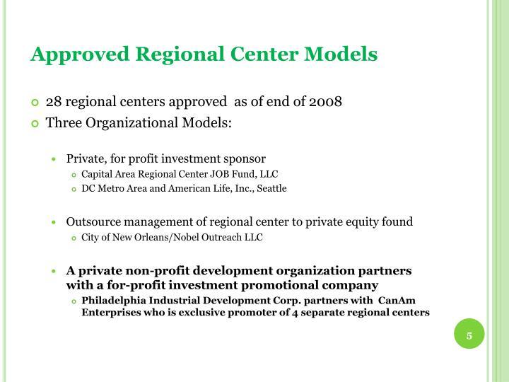Approved Regional Center Models