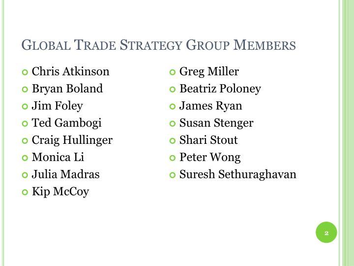 Global trade strategy group members