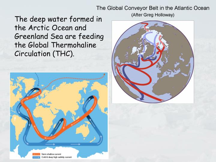 The deep water formed in the Arctic Ocean and Greenland Sea are feeding the Global Thermohaline Circulation (THC).