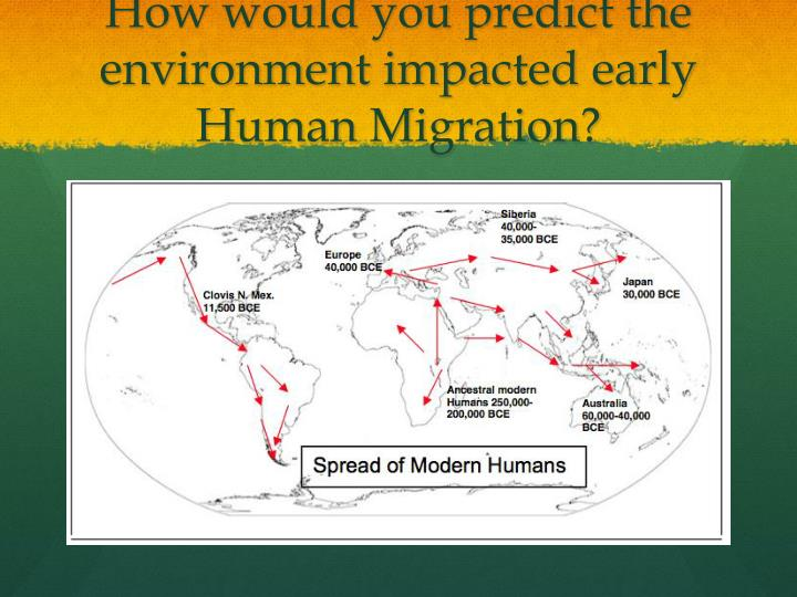 How would you predict the environment impacted early Human Migration?