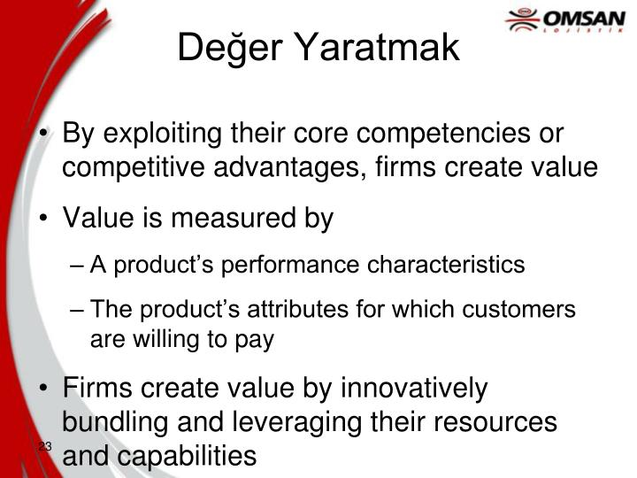 By exploiting their core competencies or competitive advantages, firms create value