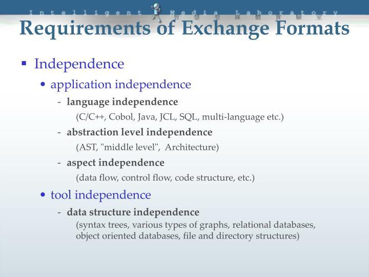 Requirements of Exchange Formats