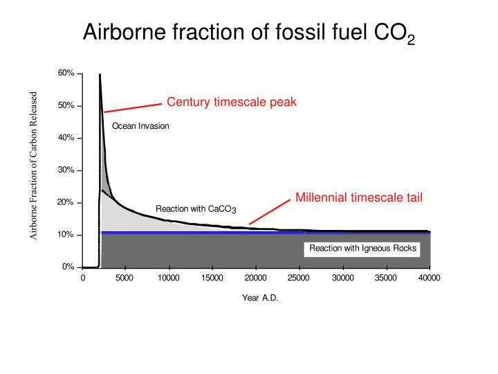 Airborne fraction of fossil fuel CO