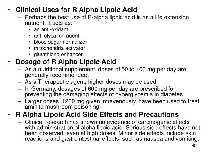 Clinical Uses for R Alpha Lipoic Acid