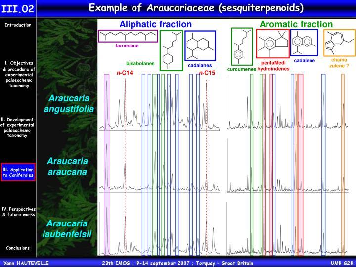 Example of Araucariaceae (sesquiterpenoids)