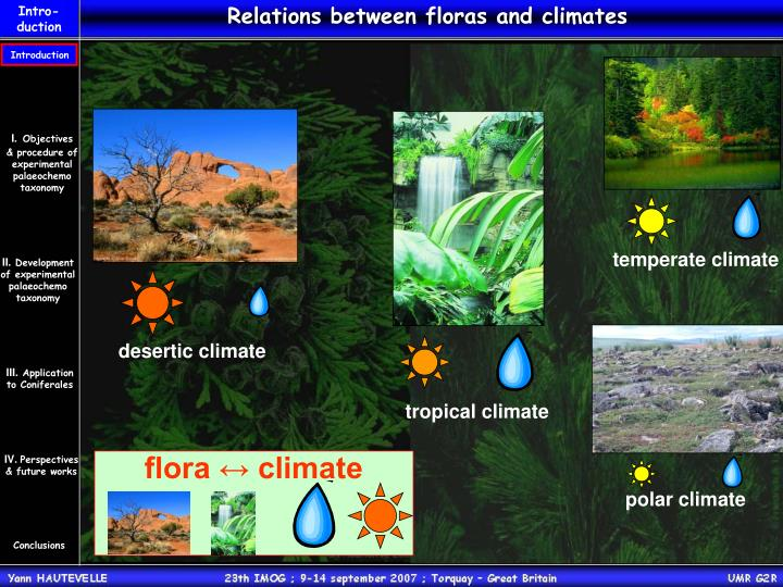 Relations between floras and climates