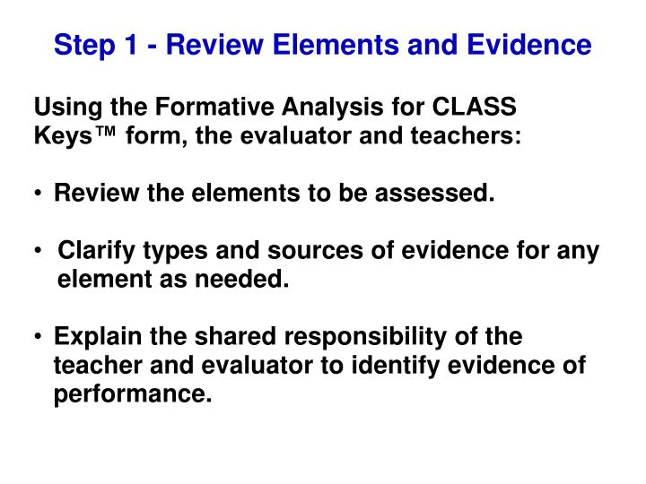 Step 1 - Review Elements and Evidence