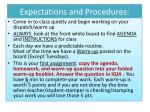 expectations and procedures