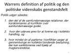 warrens definition af politik og den politiske videnskabs genstandsfelt