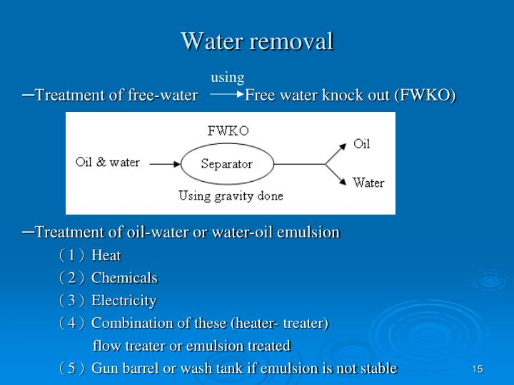 Water removal
