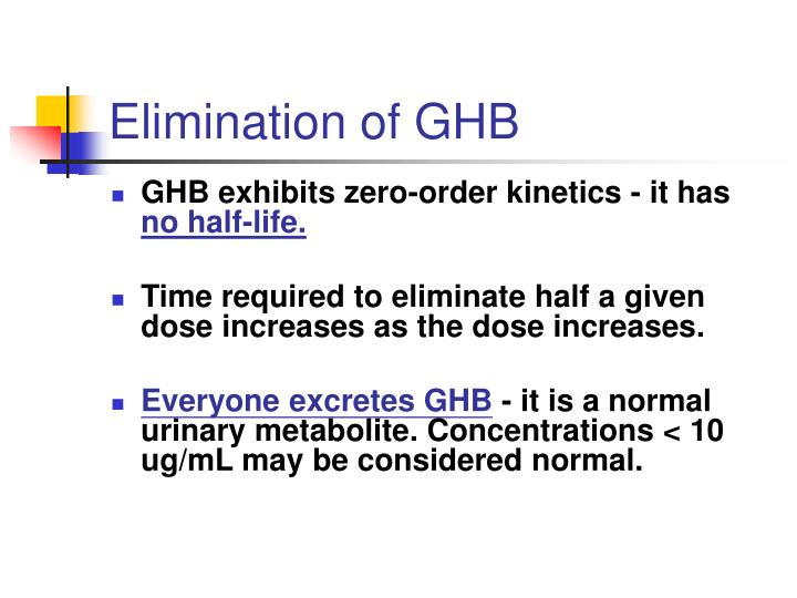 Elimination of GHB