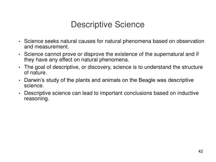 Descriptive Science
