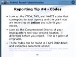 reporting tip 4 codes