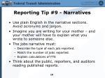 reporting tip 9 narratives