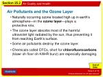air pollutants and the ozone layer