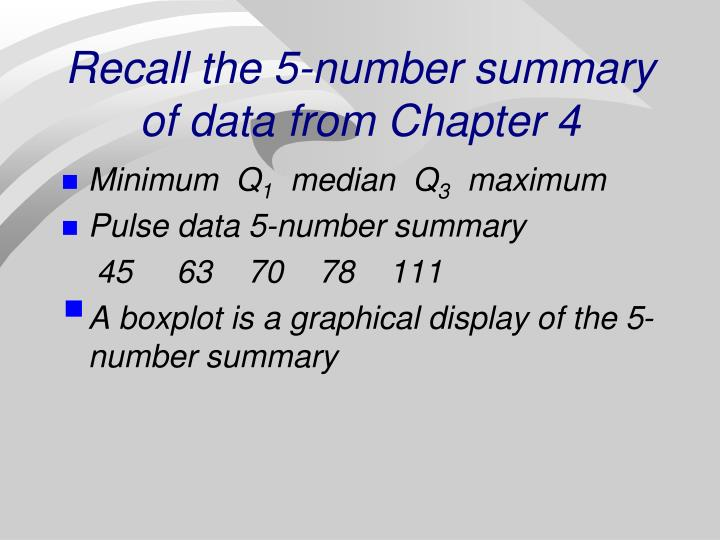 Recall the 5 number summary of data from chapter 4