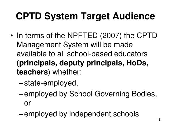 CPTD System Target Audience
