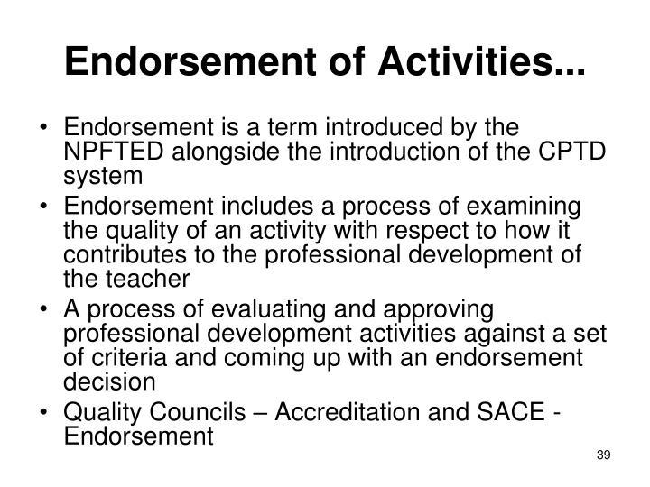 Endorsement of Activities...