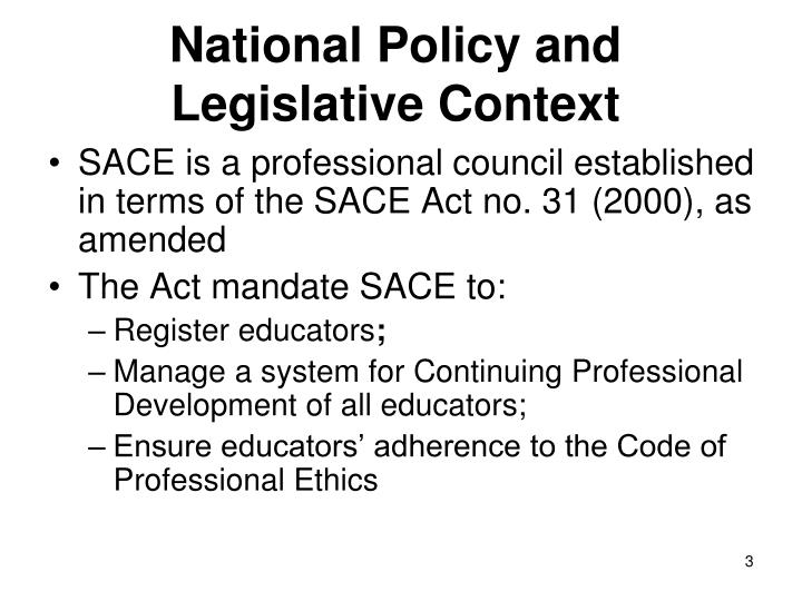 National policy and legislative context1