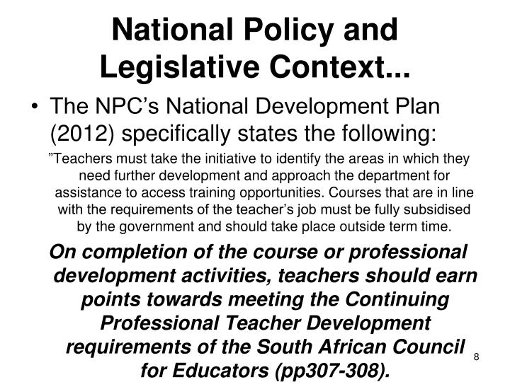 National Policy and Legislative Context...