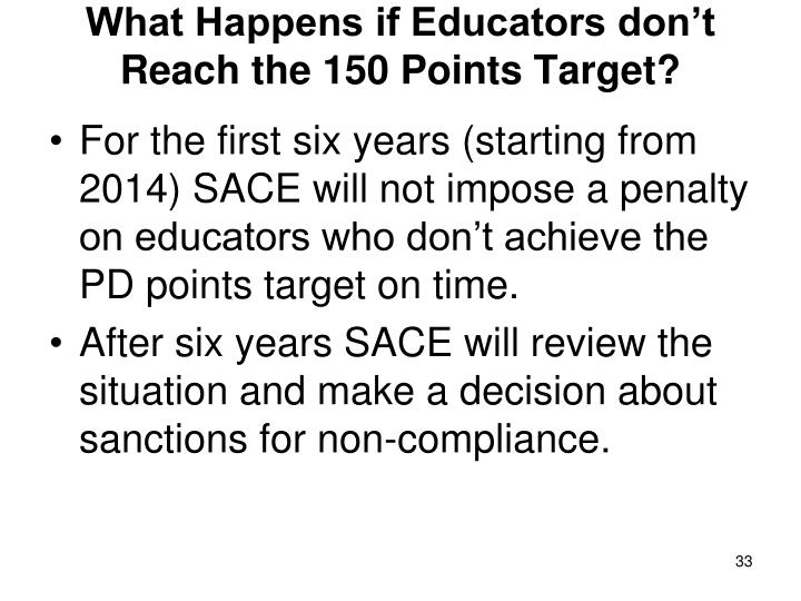 What Happens if Educators don't Reach the 150 Points Target?