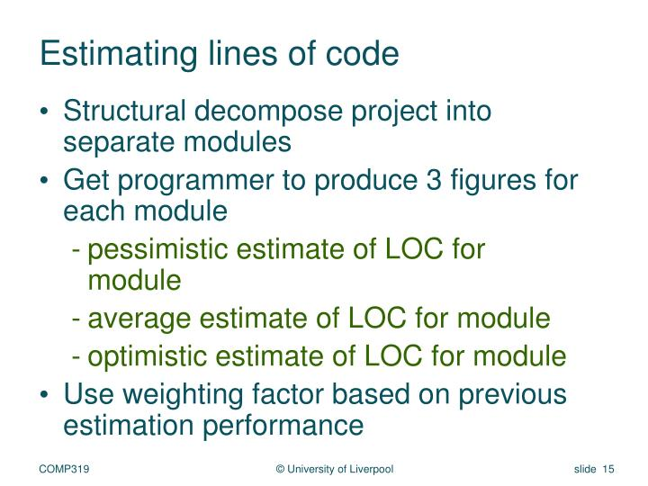 Estimating lines of code