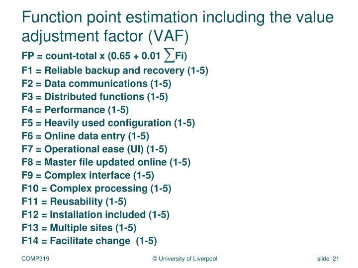 Function point estimation including the value adjustment factor (VAF)