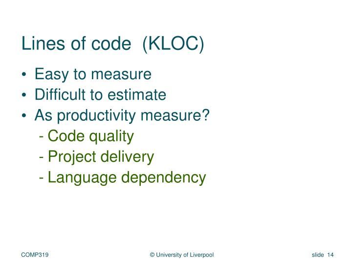 Lines of code  (KLOC)