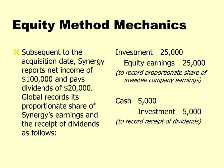 Subsequent to the acquisition date, Synergy reports net income of  $100,000 and pays dividends of $20,000. Global records its proportionate share of Synergy's earnings and the receipt of dividends as follows: