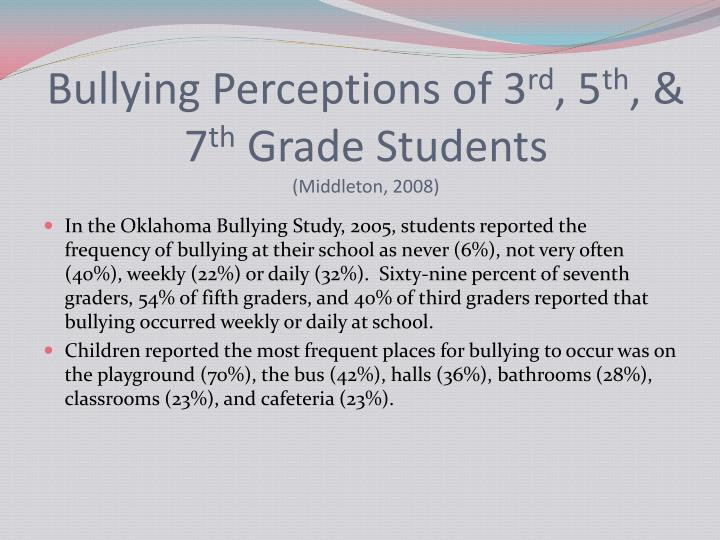 background of the study about bullying Bullying is a form of aggressive behavior in which someone intentionally and repeatedly causes another person injury or discomfort bullying can take the form of.