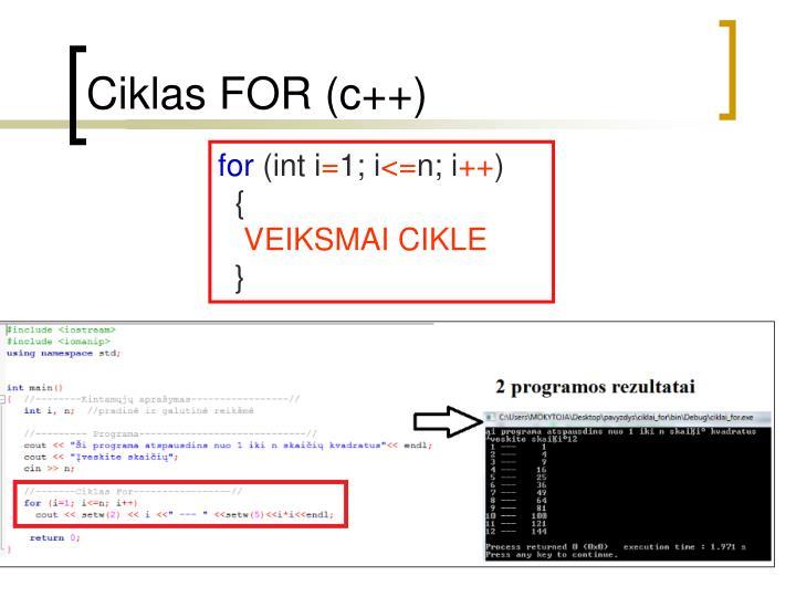Ciklas for c