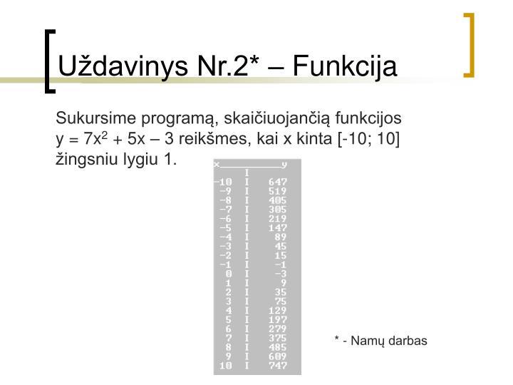Uždavinys Nr.2* – Funkcija