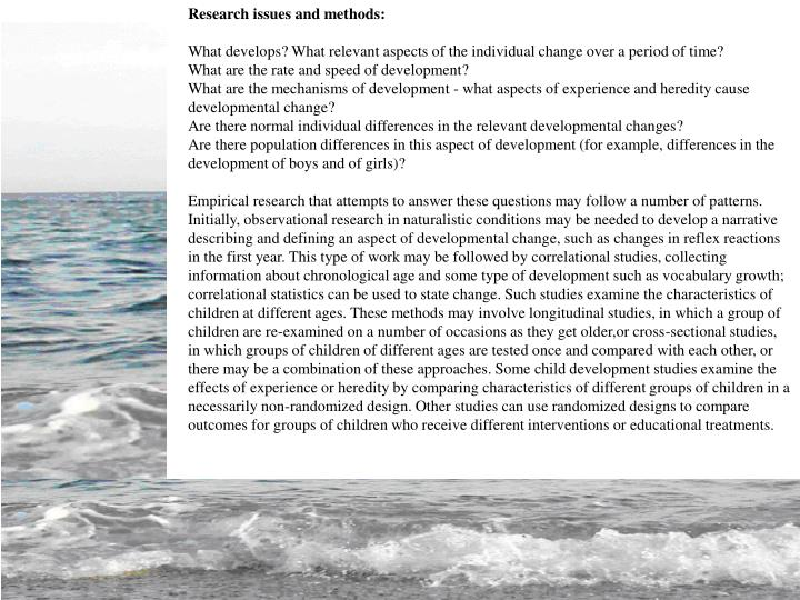 Research issues and methods: