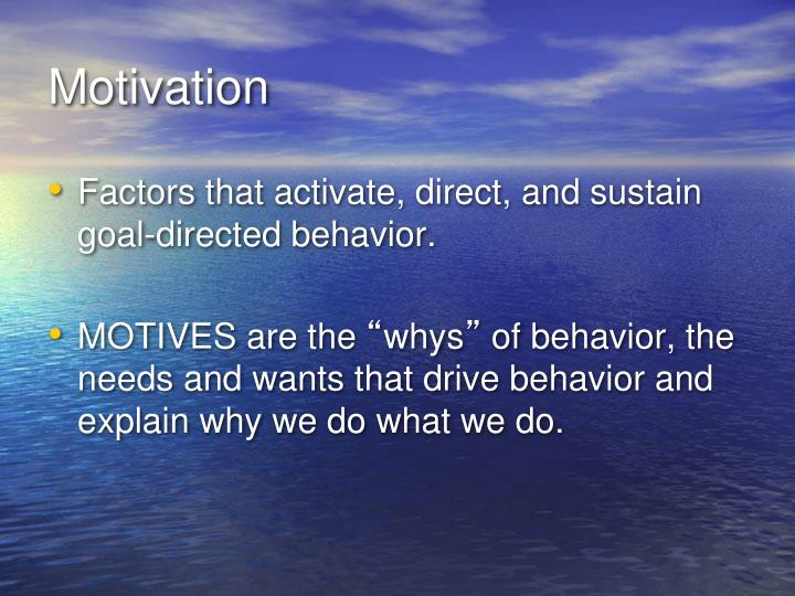 motivation and behavior essay Motivation and its impacts on human behavior psychological aspects of the behavior of human beings before putting your pen on the paper, be confident that you have enough reliable data to complete a contest on the chosen headline.